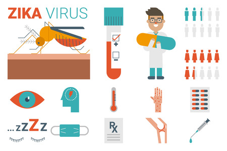 Zika virus infographic illustration and flat design icons