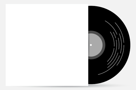 record cover: Vinyl record cover product mockup in minimal black and white theme