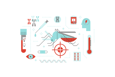 transmitted: Virus or disease transmitted by mosquito illustration concept with flat design icons