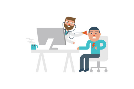 Online doctor pop up from computer to see the patient flat design illustration