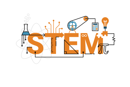 Illustration of STEM education word typography design in orange theme with icon ornament elements Illustration
