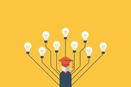 Educación concepto de la educación, el carácter de graduación con muchas bombillas se refieren a las inteligencias múltiples