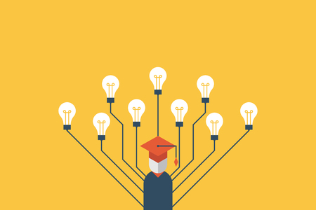 Education concept education, graduation character with many light bulbs refer to multiple intelligences