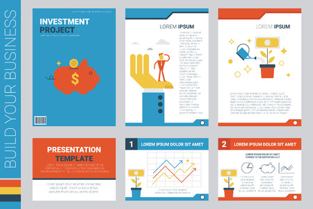 book cover design: Investment project book cover and presentation template with flat design elements, ideal for company information or infographic annual report