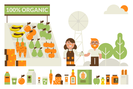 buy sell: Organic flea market concept illustration with product icons Illustration