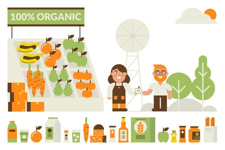 Organic illustrazione concetto di mercato delle pulci con le icone di prodotto Vettoriali