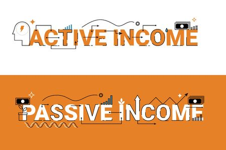 passive income: Active and passive income word lettering typography design illustration with line icons and ornaments in orange theme