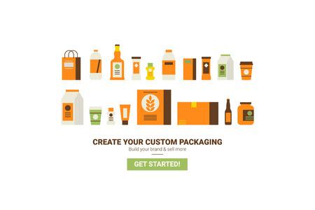 Custom packaging concept flat design for website template or magazine illustration print