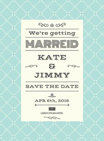 illustration invitation: Wedding invitation card layout template illustration in retrovintage style