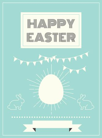 minimal style: Happy easter card template layout in vintageretro minimal style