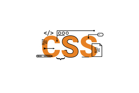 CSS word lettering typography design illustration with line icons and ornaments in orange theme