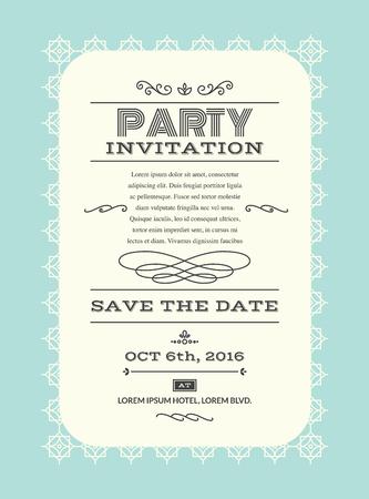 invitacion fiesta: banquete de boda tarjeta de invitación de la ilustración plantilla de diseño de estilo retro  de la vendimia