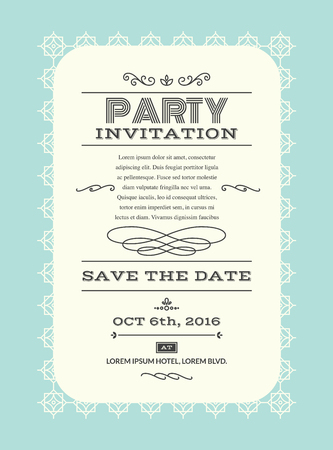 Wedding party invitation card layout template illustration in retrovintage style Illustration