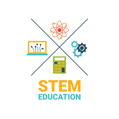 science education: STEM - science, technology, engineering and mathematics badge concept with icon in flat design Illustration