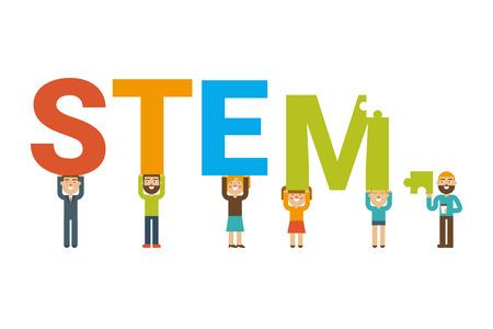 STEM - 평면 디자인 아이콘 과학, 기술, 엔지니어링 및 수학 배지 개념