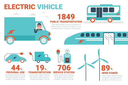 hybrid car: Electric power vehicle infographic concept illustration with icons
