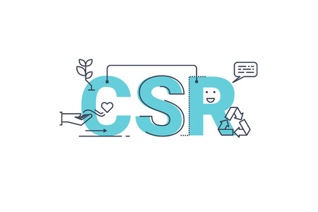 CSR : Corporate social responsibility word lettering typography design illustration with line icons and ornaments in blue theme Vectores