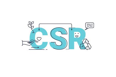 RSE: Responsabilidad de las empresas palabra social Ilustración diseño de letras de la tipografía con iconos de líneas y adornos en el tema azul
