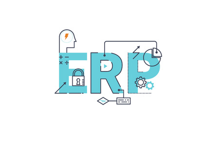 enterprise: ERP - Enterprise resource planning word lettering typography design illustration with line icons and ornaments in blue theme