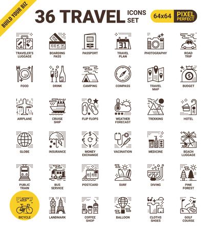 píxel Viaje línea perfecta iconos de estilo moderno para el sitio web de viajes