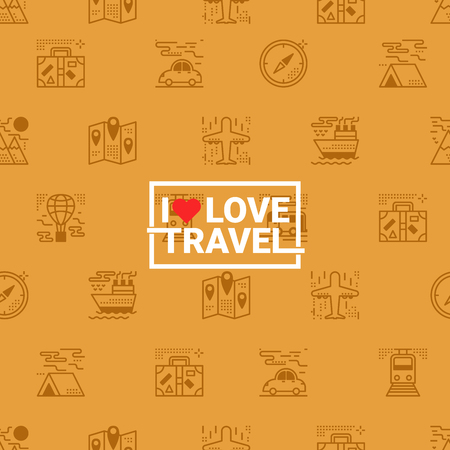 retro background: Travel concept seamless orange background with transportation icons and i love travel word Illustration