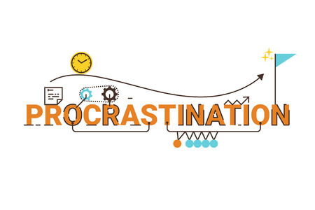procrastination: Procrastination word lettering typography design illustration with line icons and ornaments in cheerful yellow theme Illustration