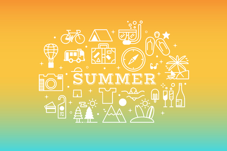 ombre: Summer concept line icons illustration in flat design with gradient multicolor ombre relaxing background