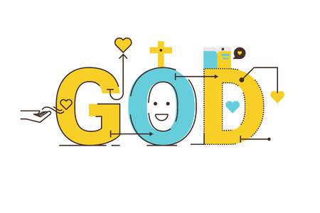 word of god: God word lettering typography design illustration with line icons and ornaments in cheerful yellow theme