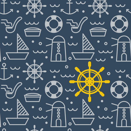 navy blue background: Nautical outline icons concept seamless pattern in deep navy blue background for textile or wrapping paper