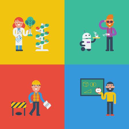 tige: STEM - science, technologie, ingénierie et mathématiques en caractères mignon notion Illustration