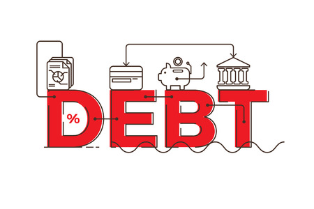 bankrupt: Debt word lettering typography design illustration with outline icons and ornaments in red theme