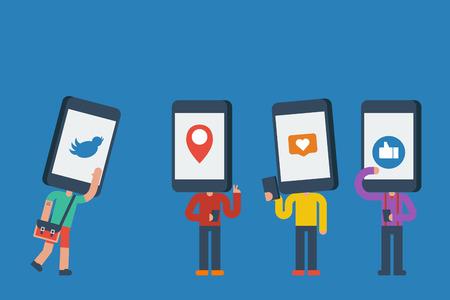Smartphone head human in social media addiction concept Vectores