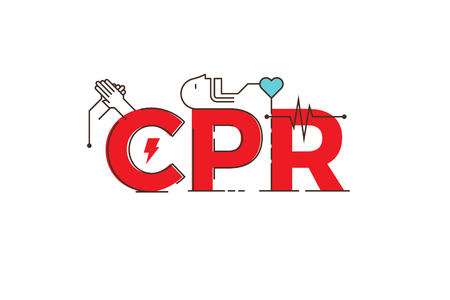 cpr: CPR -cardiopulmonary resuscitation word lettering typography design illustration with outline icons and ornaments in red theme