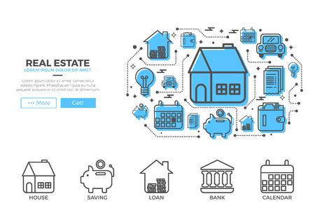 property development: House icons design for landing page real estate website or magazine illustration print