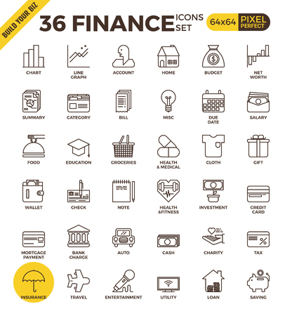 icons set: Finance and banking pixel perfect outline icons modern style for website