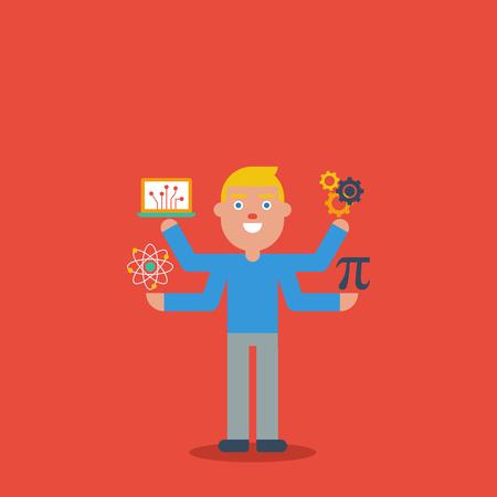 tige: STEM l'éducation - la science, technologie, ingénierie et mathématiques en caractères mignon notion Illustration