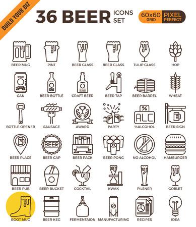 Craft Beer pixel perfecto contorno iconos de estilo moderno para la aplicación móvil