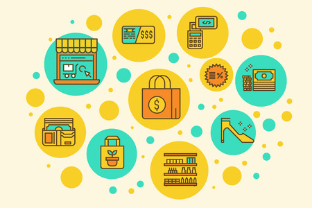 gift spending: Retail Store Business outline filled icons concept illustration