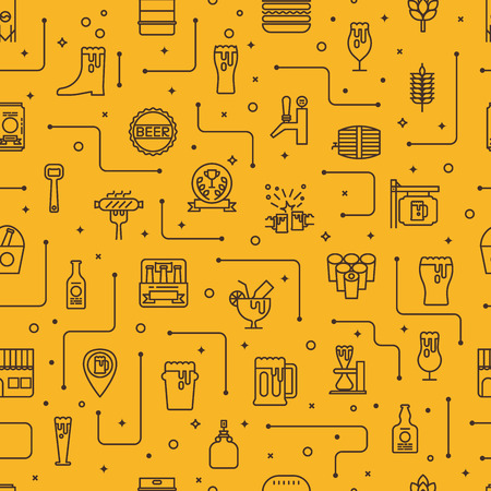 Craft beer glass and bottle icons seamless pattern background