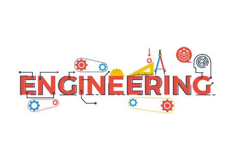 Ilustración de la palabra de ingeniería en STEM - la ciencia, la tecnología, la ingeniería, la educación matemática concepto de diseño con elementos de la tipografía icono ornamento Ilustración de vector
