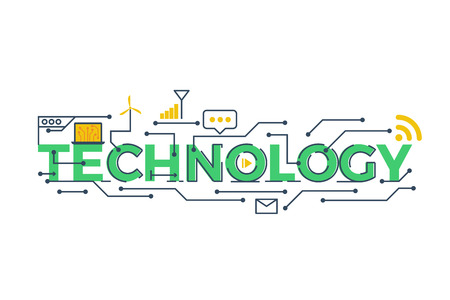 Illustration of TECHNOLOGY word in STEM - science, technology, engineering, mathematics education concept typography design with icon ornament elements  イラスト・ベクター素材