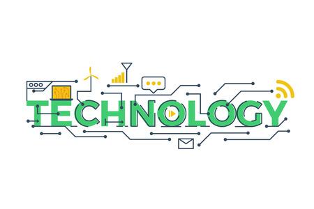 Ilustración de la palabra tecnología en STEM - la ciencia, la tecnología, la ingeniería, la educación matemática concepto de diseño con elementos de la tipografía icono ornamento