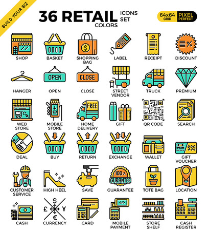 pixel perfect: Retail Store pixel perfect outline icons modern style for website