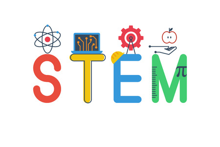 stems: Illustration of STEM - science, technology, engineering, mathematics education word typography design in colorful fun theme with icon ornament elements