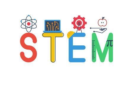 Ilustracja STEM - nauka, technologia, inżynieria, matematyka edukacja Słowo projektowe typografia w kolorowy motyw zabawy z elementami ikona ozdoba