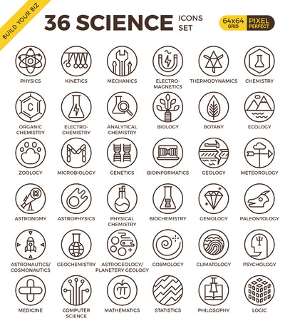 Science education badge pixel perfect outline icons modern style for website