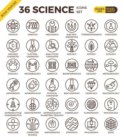 La educación científica insignia píxel perfecto contorno de los iconos de estilo moderno para el sitio web