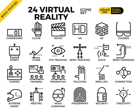 extreme science: Virtual reality pixel perfect outline icons modern style for website Illustration