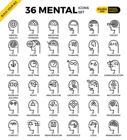 open brain: Mental & Mind pixel perfect outline icons modern style for website or print illustration