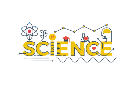 science background: Illustration of SCIENCE word in STEM - science, technology, engineering, mathematics education concept typography design with icon ornament elements Illustration